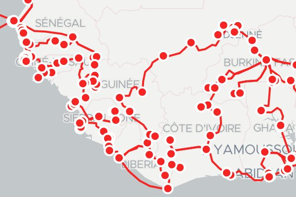 Map of West African Road Trip